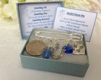 Something Blue Bride Groom Intials Charm Pin Wedding Bouquet Hen Party Keepsake