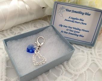 Something Blue Swarovski Heart Charm Bridal Gift Bouquet Charm Hen Party Gift