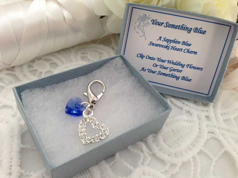 Personalised Something Blue Bride Wedding Bouquet Charm Memorial Bridal Gift