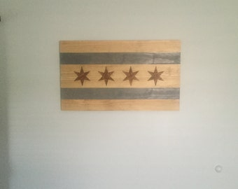 36x21 Stained Chicago Flag
