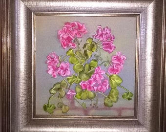 NEW!!! Embroidered GERANIUM.Ribbon embroidery.Home decor.Wall decor.