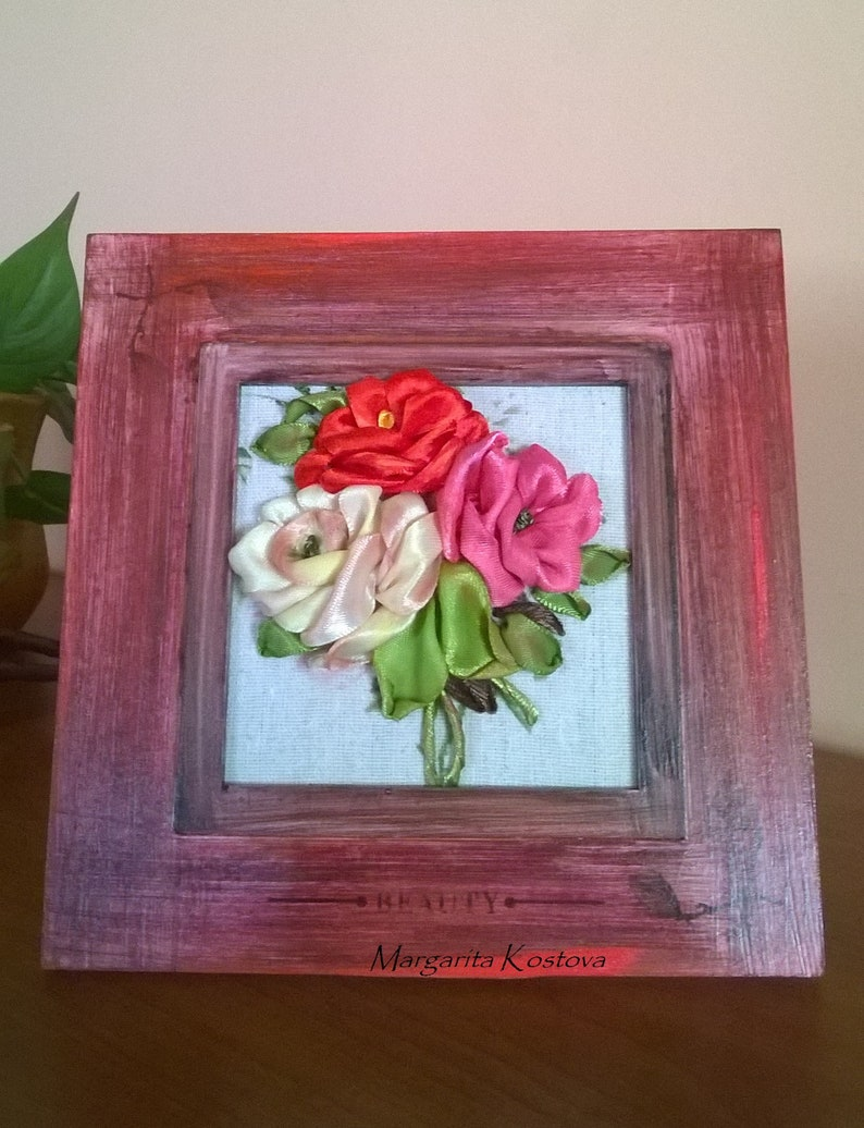 Small Embroideryribbon Workretro Style Home Decor Embroidered Roses Bouquet Of Roses Gift Idea