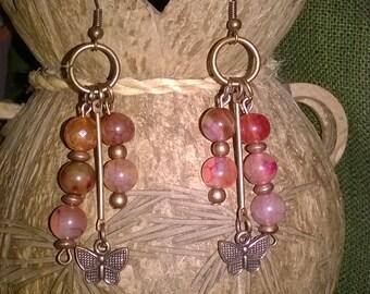 Dangling earrings.Bohemian earrings.Rose and copper earrings.Ethno hippie style.Urban jewelry.Gift for her.