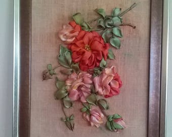 ROSES.Embroidered picture.Ribbon embroidery.Catherine Kleine ,s roses.Home decor.Gift idea.