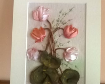 Embroidered greeting card.Katherine Klein s Cyclamen.For all occasions.Gift for here.