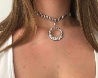 Silver Diamantee Choker with Spherical Diamantee Pendant