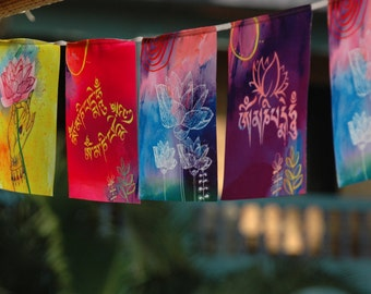 Om MANI PADME HUM Prayer flag Buddhism Buddhist decor Tibetan Art Prosperity Buddha Mantra Meditation Tantra Lotus art Zen Gift Bodhisattva