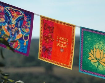 LOVE Your SELF prayer flag Inspirational Quote Inspiration gift Motivational Poster Positive quotes art Teen gift for daughter Spiritual Art