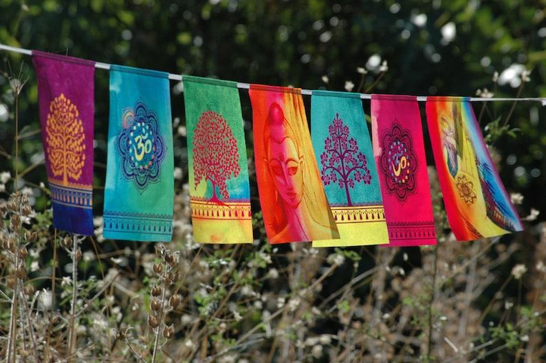 BUDDHA OM prayer flags Spiritual gift Yoga Meditation Art image 0