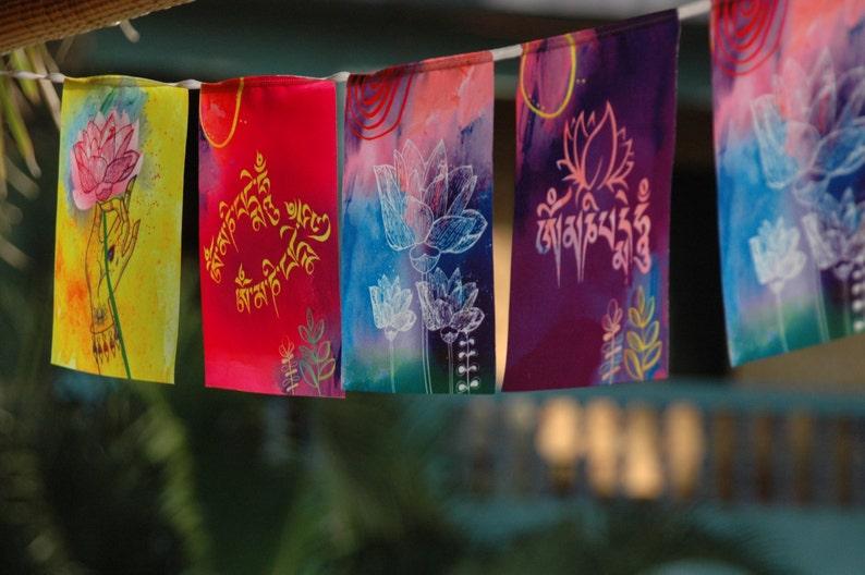 Om MANI PADME HUM Prayer flag Buddhism Buddhist decor Tibetan image 0