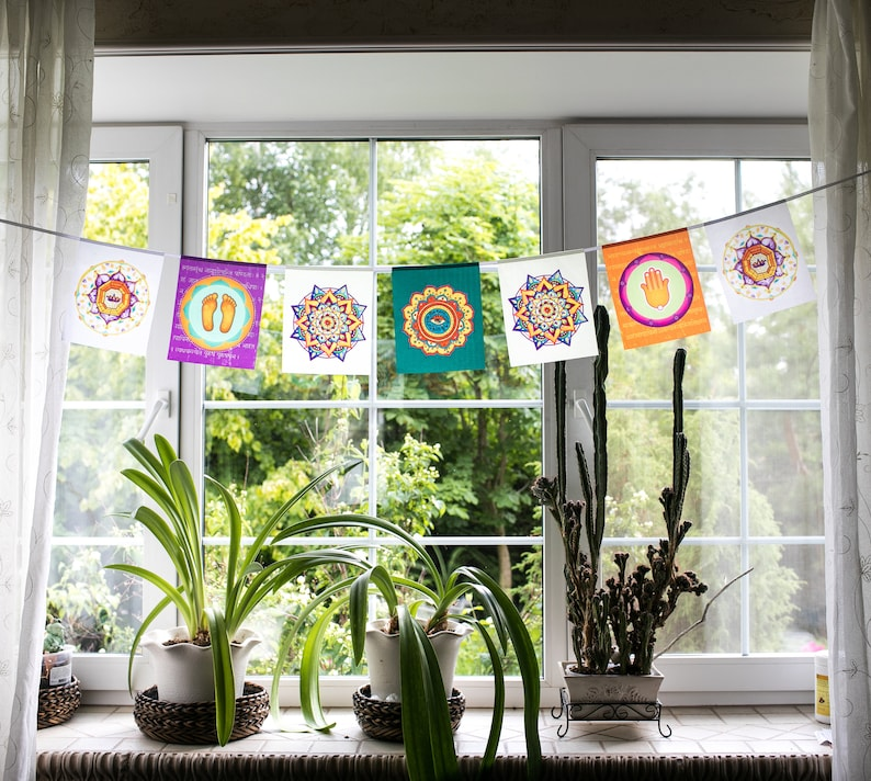 Lotus Mandala All Seeing Eye Prayer Flags Spiritual Yoga Etsy