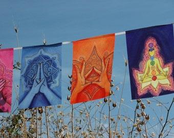 MUDRAS prayer flags Healing art Yoga poster Reiki decor Chakra banner Energy Soul Body Mind BALANCE Harmony Awakening Altar decoration cloth