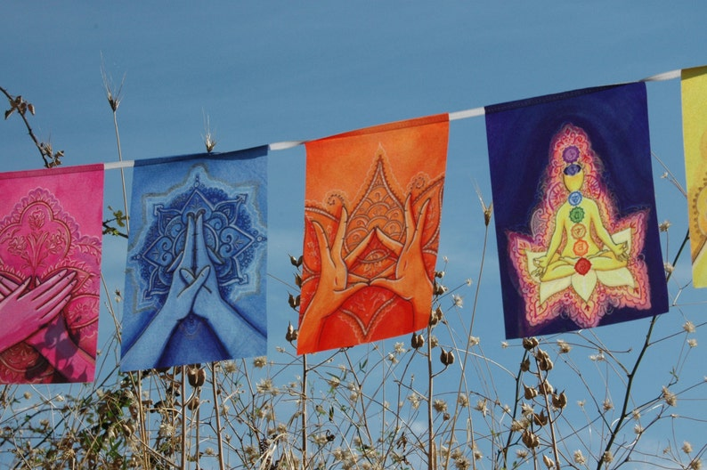 MUDRAS prayer flags Healing art Yoga poster Reiki decor Chakra banner  Energy Soul Body Mind BALANCE Harmony Awakening Altar decoration cloth