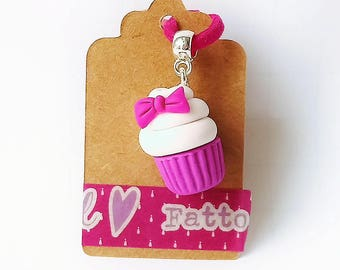 Cupcake muffin fimo polymer clay charm ciondolo paperina