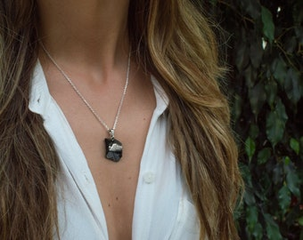 Handmade Elite Shungite Crystal Necklace, made from Fine Italian Silver