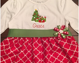CUSTOMIZABLE Toddler Christmas Dress, Girls Christmas Dress, Personalized Christmas Dress, Christmas Tree Dress, Sibling Christmas Outfits