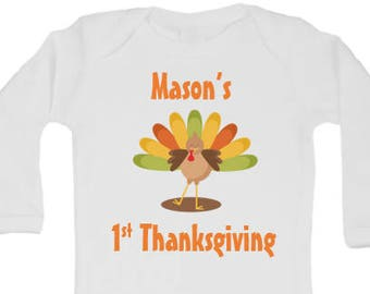CUSTOMIZABLE BabyThanksgiving Onesie, Turkey Onesie, Fall Onesie, Boy First Thanksgiving Onesie, Girl First Thanksgiving Onesie