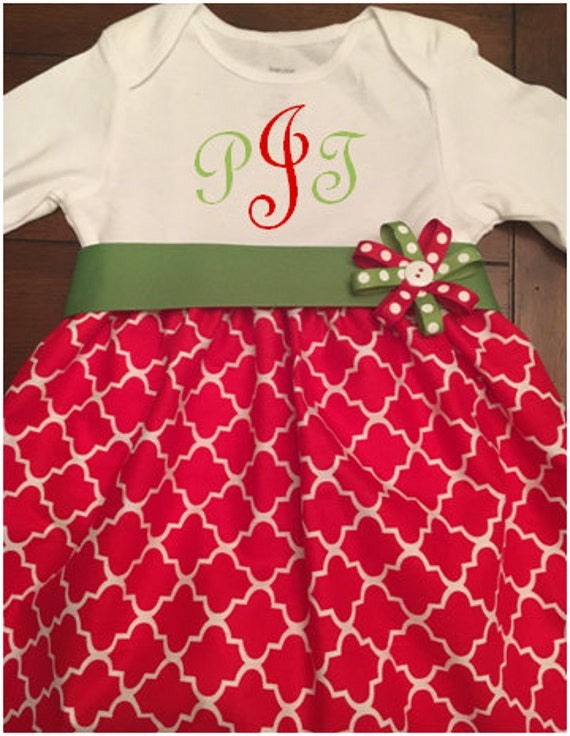 f7ff997fb First Christmas Dress Girl Personalized Monogram Baby | Etsy