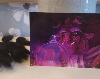 Carte postale la belle et la bête
