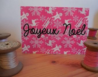 Merry Christmas postcard pink