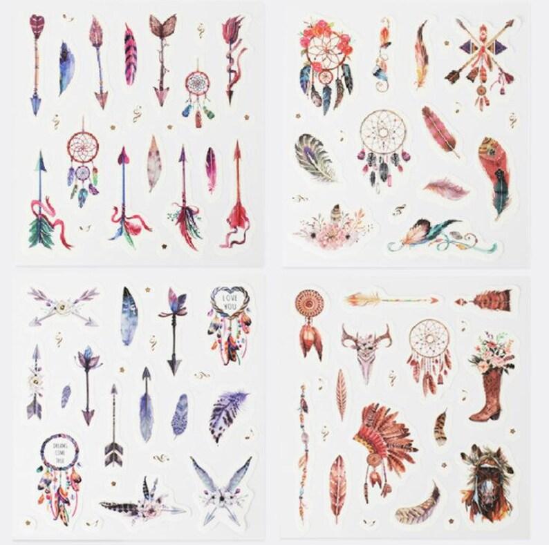 Lot de 4 planches de stickers plumes image 0