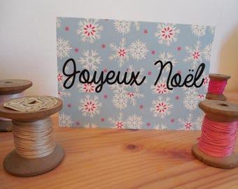 Carte postale joyeux noël bleu