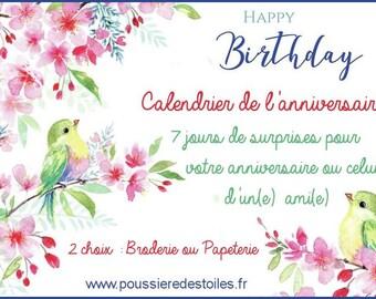 Calendrier de l'anniversaire Broderie ou Papeterie