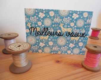Carte postale citation meilleurs voeux bleu