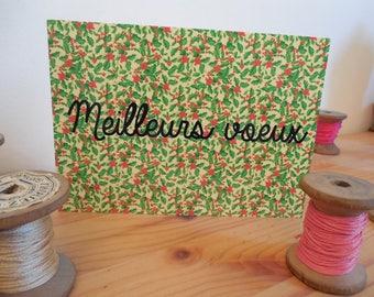 Carte postale citation meilleurs voeux vert