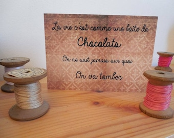 Carte postale citation chocolat