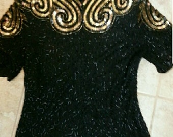Gold and Black Swirl Beaded Blouse