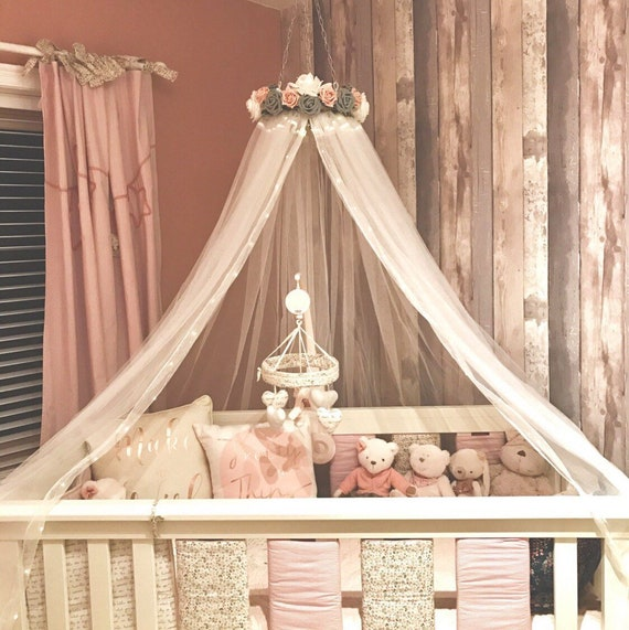 Cot canopy DAISY Handmade bed canopy, nursery, cot canopy, girls princess  bedroom, reading nook, Dusky Pink, Grey and White