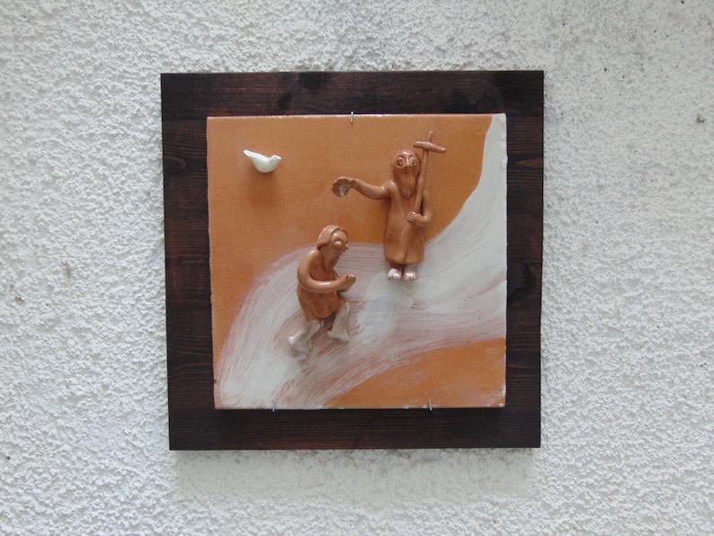 Decorazione da parete scena biblica giovanni battezza gesù