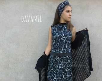 Women's dress, women's dress with spotted fabric, women's short handmade dress in Italy, woman's dress spotted with bow behind.