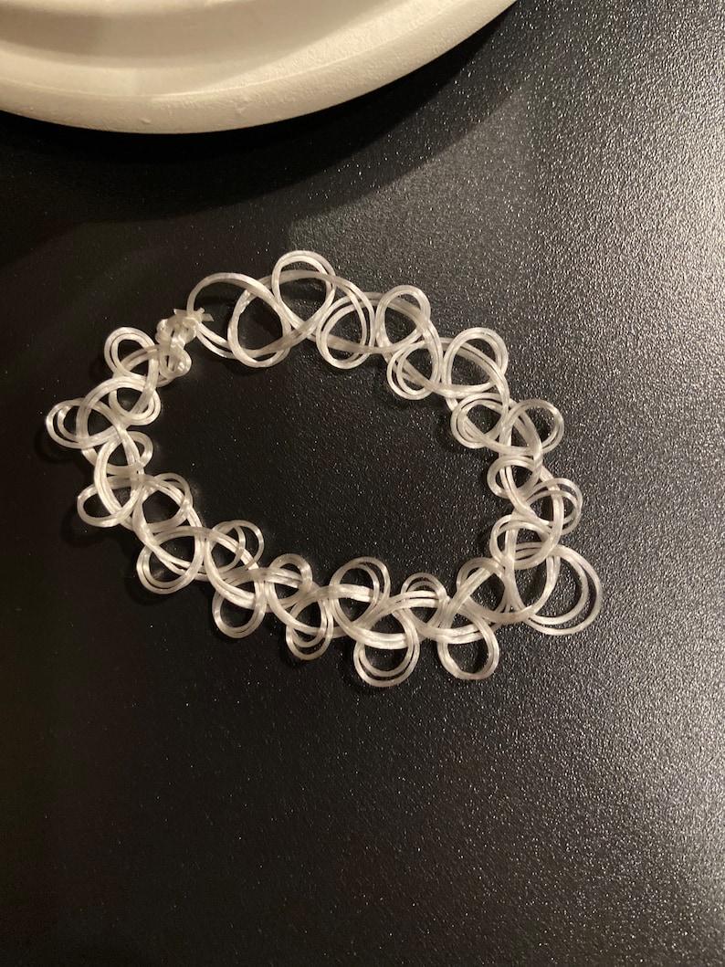 or Ring Bracelet White Double Strand Choker