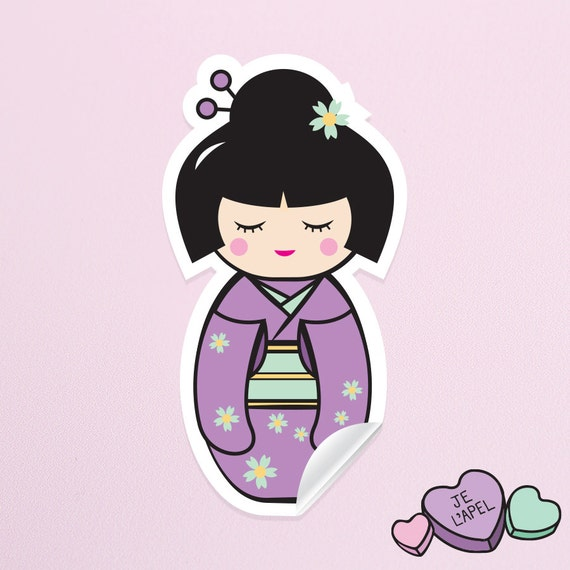 "3.5"" Purple Kokeshi Doll Vinyl Sticker - Cute Kawaii Decal"