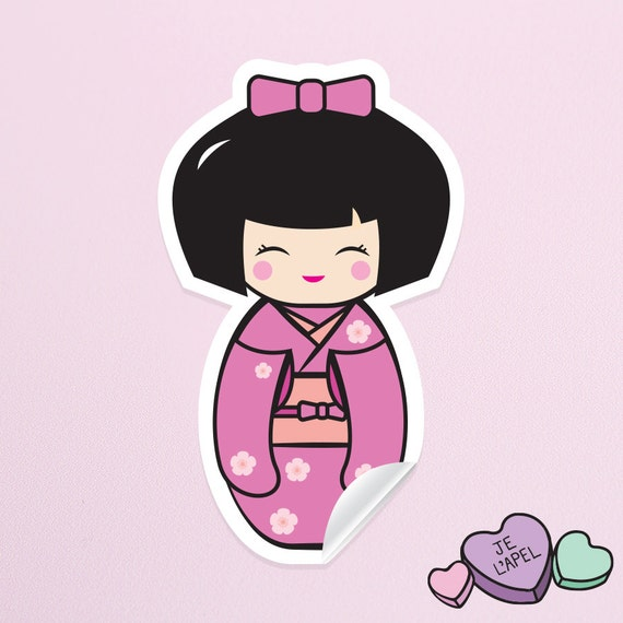 "3.5"" Pink Kokeshi Doll Vinyl Sticker - Cute Kawaii Decal"