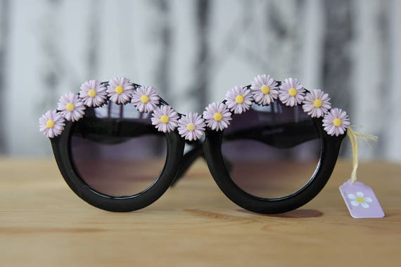 Sunnies with lilac daisy embellishments