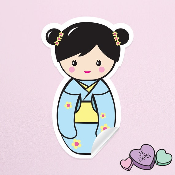 "3.25"" Blue Kokeshi Doll Vinyl Sticker - Cute Kawaii Decal"
