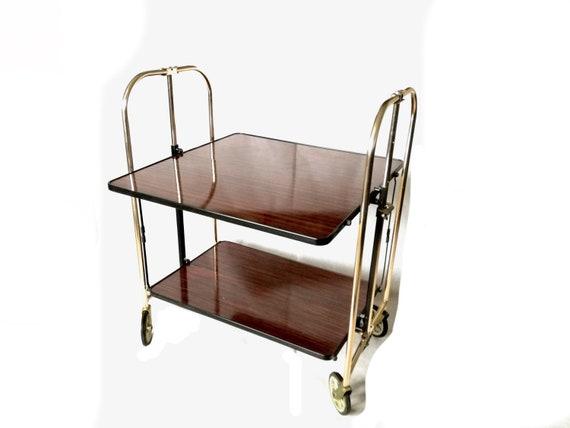 retro bar cart men's bar image vintage gold bar cart woodmet dectette retro trolley etsy