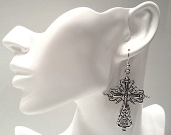 Large Cross Earrings -Silver Plated Earwires- Antique Silver Pendant