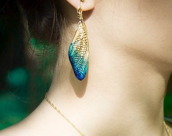 Real Cicada Wing Earring Costume Jewerly Artistic Art Nouveau Gold Turquoise Dark blue Gradation