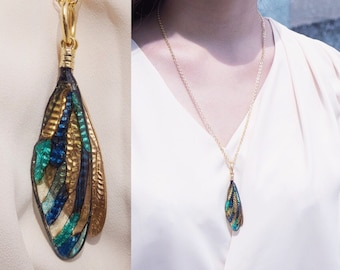 Real Cicada Wing Necklace Pendant Costume Jewerly Artistic Art Nouveau Layered Blue Green Gold