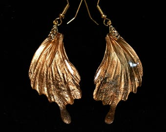 Real Butterfly Wing Earring Costume Jewerly Artistic Art Nouveau Gorgeous Glitter Gold