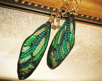 Real Cicada Wing Earrings Costume Jewelry Artistic Art Nouveau Green Bamboo Color Blocking