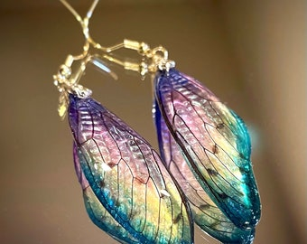 Real Cicada Wing Earring Costume Jewerly Artistic Art Nouveau Purple Green Yellow Multicolor Gradation