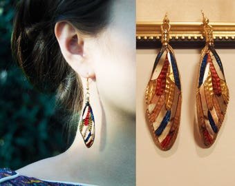 Real Cicada Wing Earring Costume Jewerly Artistic Art Nouveau Color Blocking Red Navy Gold