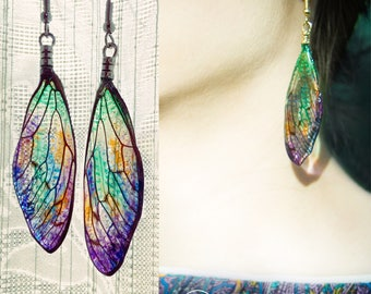 Costom Order Real Cicada Wing Earring Costume Jewerly Artistic Art Nouveau