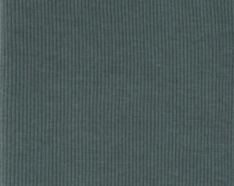 1/8 Yard Organic Cotton Ribbing Fabric , 2x2 Rib opened , SLATE Ribbed Knit