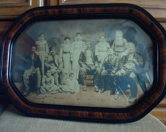 Armenian Family Sepia Tone Photograph 1890's Original Tiger Wood Frame and Bubble Glass